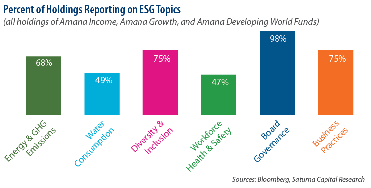Percent of Holdings Reporting on ESG Topics