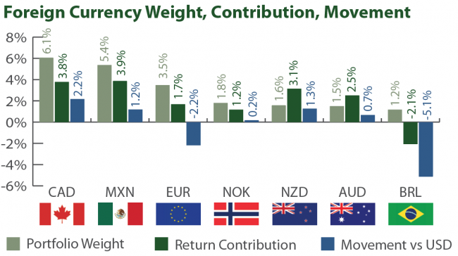 Foreign Currency Weight, Contribution, and Movement