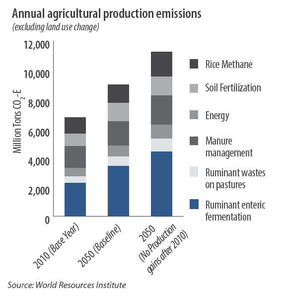 Annual agricultural production emissions