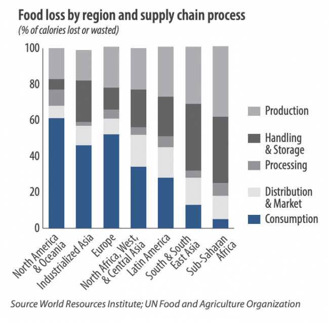 Food loss by region and supply chain process